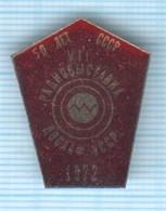 USSR / Badge / Soviet Union / UKRAINE. DOSAAF Radio Exhibition. Communication  Kiev 1972 - Associations