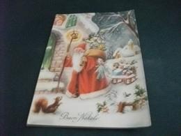 BUON NATALE BABBO NATALE O SANTA CLAUS PORTA I DONI REGALI BAMBOLE SLITTINO PUPAZZI SCOIATTOLO VISCHIO - Santa Claus