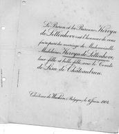 Mariage 1904 Madeleine Kervyn De Lettenhove & Comte De Lisa De Châteaubrun Château De Wakken Dentergem Noironte Doubs - Mariage