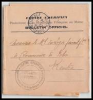 6886 Résidence Générale De France War Bulletin Officiel Du Protectorat 1914 Kenitra Lettre Cover France Guerre Maroc - Storia Postale
