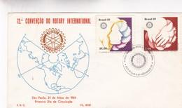 1981 FDC COVER BRESIL- 72 CONVENÇAO DO ROTARY INTERNATIONAL - BLEUP - Rotary, Club Leones