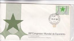 1981 FDC COVER BRESIL- 66° CONGRESO MUNDIAL DE ESPERANTO, MINAS GERAIS - BLEUP - Esperánto