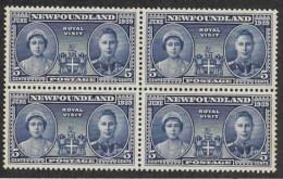 Canada - Newfoundland,  Scott 2019 # 248,  Issued 1939,  Block Of 4,  MLH,  Cat $ 5.00 - Newfoundland