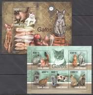 Guinea-Bissau, 2010. [gb10102] Cats (s\s+block) - Raubkatzen