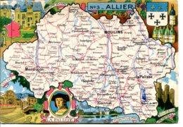 03000 - La Rougery - Carte Géographique Illustrée Du Département De L'ALLIER, Blason - France