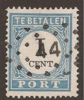 NETHERLANDS. POSTAGE DUE. 1881. 1c PALE BLUE & BLACK. PERF 13 X 13 ½. TYPE III. USED. - Postage Due