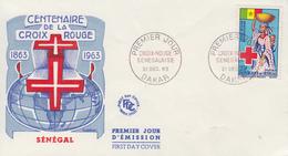 Enveloppe  FDC  1er  Jour    SENEGAL   Centenaire  De  La   CROIX  ROUGE    1963 - Sénégal (1960-...)