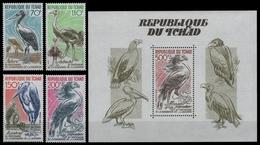 Tschad 1985 - Mi-Nr. 1116-1119 & Block 238 ** - MNH - Vögel / Birds - Tschad (1960-...)