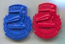 Gymnastics Gymnastique - Altenburg DDR East Germany 1963. Vintage Pin, Badge, Abzeichen Plastic, D 45 X 40 Mm, 2 Pcs - Gymnastics