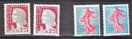 France 1233 B 1263 J Variété Gomme Tropicale  Et Normal Mariannes Neuf ** TB MNH Sin Charnela Cote 13 - Varietà: 1960-69 Nuovi