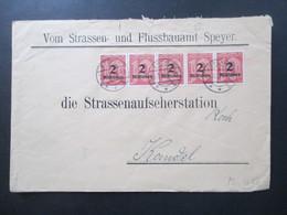 DR Dienst Hochinflation 10/1923 Nr. 97 (5) MeF Waagerechter 5er Streifen! Straßen Und Flussbauamt Speyer - Servizio