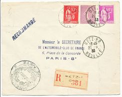 MOSELLE ENV 1933 METZ R.P. LETTRE RECOMMANDEE JOLIE COMPO 90C PAIX ROUGE + 40C PAIX + 45C SEMEUSE LIGNEE - 1921-1960: Modern Period