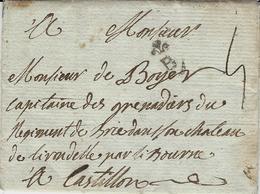 1783- Lettre De Bordeaux ( Gironde )Lenain N°18 Pour Castillon  Taxe 5 Sous - Marcophilie (Lettres)
