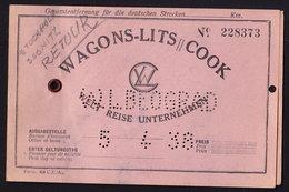 SASNITZ - STOCKHOLM - WAGONS-LITS-COOK 1938  Recenue Stamps Serbia Railway Ticket Bigletto Treno (see Sales Conditions) - Spoorwegen