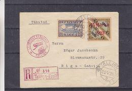 Estonie - Lettre Recom De 1924 - Oblit Tallinn - Cachet Rouge Lendpost Aéronaut - Exp Vers Riga - - Estonia
