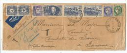 N° 398+ 392X2+ CERES 2F25+2FR50 LETTRE AVION AVION PARIS 1939 POUR LE PANAMA TAXE 10C+4CX2 RARE - Marcophilie (Lettres)
