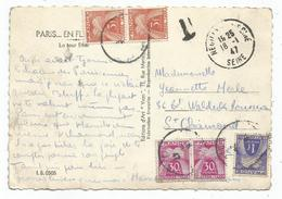 TAXE 3FRX2+1FR+30CX2 ST CHAMOND CARTE NON AFFRANCHIE NEUILLY S SEINE 18.1.1947 - Lettres Taxées