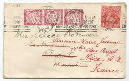 TAXE 40C ROSE BANDE DE 3 NICE 1928 LETTRE COVER AUSTRALIA  1 1/2C SOLO TO  MAURITIUS REEXPEDIEE A NICE FRANCE - Lettres Taxées