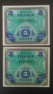 France WWII 2 X Consecutive 5 Franc Bank Notes 1944 - Schatzamt