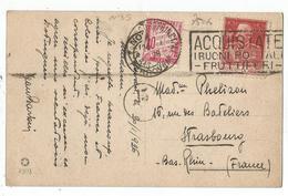 TAXE 40C ROSE STRASBOURG 1926 SEUL CARTOLINA 60C TORINO - Lettres Taxées