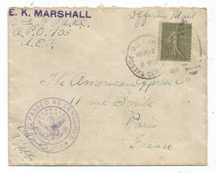 SEMEUSE 15C LIGNEE LETTRE COVER US ARMY POSTAL 1918 POUR PARIS CENSOR RARE - 1903-60 Semeuse Lignée