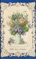 Carte Dentellée   Découpis   Fleurs     Relief - Auguri - Feste