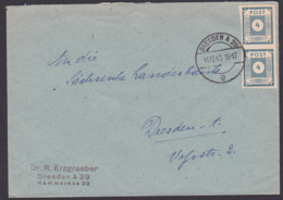 SBZ Dresden A29, OPD Ostsachsen, MiNr. 53 (2), 4 Pf. Ziffer Im Kreis Ortsbrief 11.12.45 An Sächsische Landesbank - Zone Soviétique