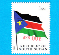 SOUTH SUDAN Surcharge Overprint ERROR  Inverted 300 SSP And Misplaced Bars On 1 SSP Flag Stamp Südsudan Soudan Du Sud - Zuid-Soedan