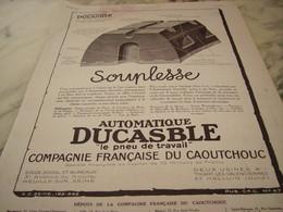 ANCIENNE PUBLICITE SOUPLESSE  PNEU DUCASBLE 1923 - Vintage Clothes & Linen