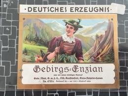 Etikett, Gebirgs- Enzian, Schnaps, Gebrüder Illert (54) - Labels