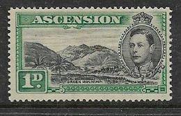 Ascension Island, George VI, 1938, 1d , Black & Green, MH * - Ascensione
