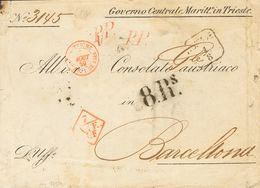 """Austria-Hungary. COVER. 1859. TRIESTE To BARCELONA. Diverse Exchange Postmarks, Rate """"8 Rs"""" (reales) And Stationery GOVE - Austria"""