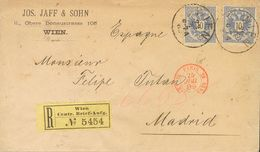 Austria. COVERYv 43(2). 1889. 10k Ultramarine, Two Stamps. Registered From VIENA To MADRID, Addressed Via Paris. On Reve - Austria