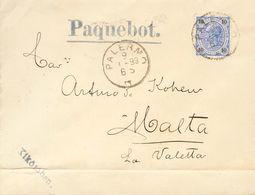 Austria. COVERYv 50. 1899. 10 K Overseas. PALERMO (SICILY) To LA VALETA (MALTA). Postmark PALERMO And On The Front Marks - Austria