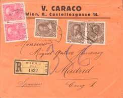 Austria. COVERYv 106(2), 108(3). 1916. 10 H Pink, Two Stamps And 20 H Brown, Three Stamps. Registered From VIENA To MADR - Austria