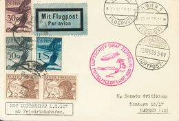 Austria, Airmail. COVER12(2), 23, 25, 27. 1929. 2 G Brown, Two Stamps, 30 G Violet, 50 G Gray And 1 S Blue. Postcard By  - Austria
