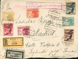 Austria, Airmail. COVER12(10), 13(2), 15/16, 18/19, 2. 1930. Various Values On Front And Back (tonalized). Registered Ai - Austria