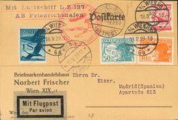 Austria, Airmail. COVER16, 24, 27. 1929. 10 G Orange, 50 G Blue Gray, 1 S Blue And 24 G Carmine. Postcard By Graf Zeppel - Austria