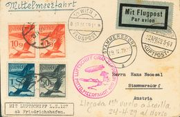 Austria, Airmail. COVER17(2), 25, 27. 1929. 10 G Vermilion, Two Stamps, 50 G Gray And 1 S Blue. Postcard Graf Zeppelin F - Austria
