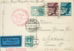 Austria, Airmail. COVER23, 24, 27. 1930. 30 G Violet, 50 G Blue Gray, 1 S Blue And 4 G Green Gray. Postcard By Graf Zepp - Austria