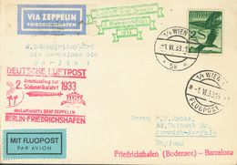 Austria, Airmail. COVER28. 1933. 2 S Green. Postcard By Graf Zeppelin From VIENNA To NORWICH (GREAT BRITAIN). On The Fro - Austria