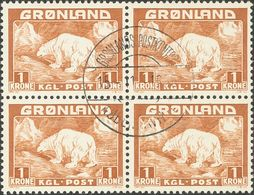 Greenland. ºYv 1/9(4). 1938. Completet Set, Block Of Four. VERY FINE.   Yvert 2010: +200 Euros -- Groenlandia. ºYv 1/9(4 - Sellos