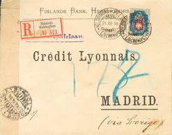 Finland. COVERYv 43. 1914. 20 K Blue. Registered From HELSINKI To MADRID, Addresed Via Sweden. On Reverse Arrival. VERY  - Finlandia