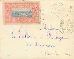 Somali Coast. COVERYv 12. 1895. 25 Cts Pink And Blue. DJIBOUTI To PLOUBEZRE (FRANCE). Postmark DJIBOUTI / POSTES, In Blu - Sellos
