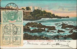 Senegal. COVER173. 1901. 4/4 Cts Green And 5 Cts Green Of Senegal. Postcard From DAKAR (SENEGAL) To BOURG ARGENTAL (FRAN - Senegal (1960-...)