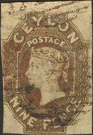 Ceylon. ºYv 7. 1857. 9 P Brown (slight Defects). BEAUTIFUL AND RARE.   Yvert 2010: 1.800 Euros -- Ceilán. ºYv 7. 1857. 9 - Sellos