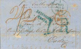 """Ireland. COVER. 1856. DUBLIN To CADIZ. Postmarks PAID (Irish), In Blue And British In Red, Rates """"2/2"""" Handwritten And """" - Irlanda"""