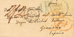 """Ireland. COVER. 1856. DUBLIN To GRANADA. Cds I / PAID, In Blue Of Origin, PAID, In Red Applied In Transit, Rate """"2/2"""" Ha - Irlanda"""