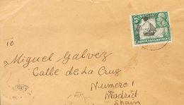 Kenya, Uganda And Tanganyka. COVERYv 34. 1936. 5 Cts Green And Black. Addresed To MADRID (sent To Miguel Gálvez). On Rev - Kenya, Uganda & Tanganyika
