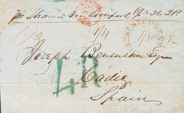 New Brunswick. COVER. 1857. CALAIS (NEW BRUNSWICK) To CADIZ. Postmark ST. STEPHENS N.B. / PAID, Transit LONDON / PAID, I - Sellos